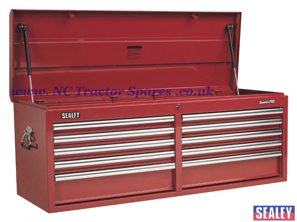 Topchest 10 Drawer with Ball Bearing Runners Heavy-Duty - Red.